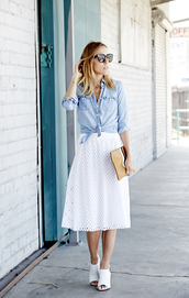 damsel in dior,shirt,skirt,bag,eyelet skirt,eyelet detail,denim shirt,blue shirt,tie-front top,sunglasses,blogger,spring outfits,pouch,sandals,mules,white mules