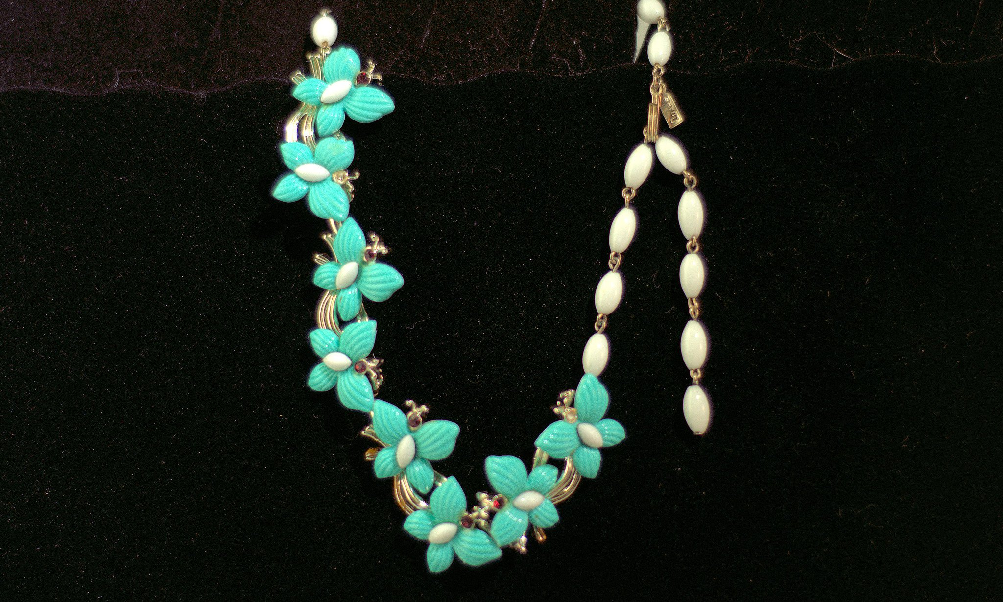 Vintage 1950s Teal Butterfly Necklace with Faux Ruby Eyes #vintagenecklace #vintage #1950style #necklace
