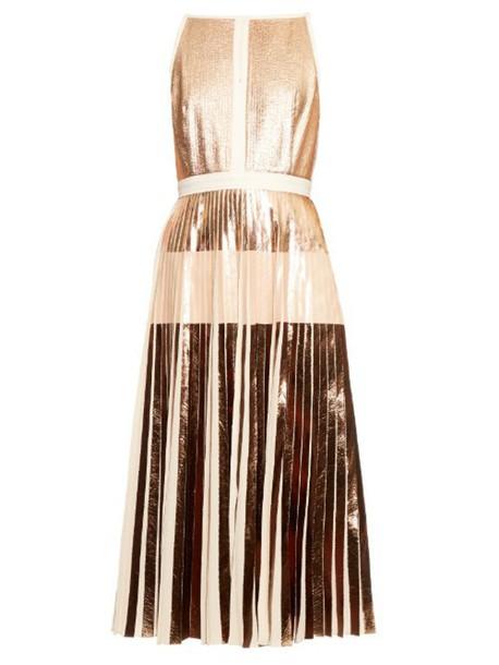 dress midi dress pleated back midi gold