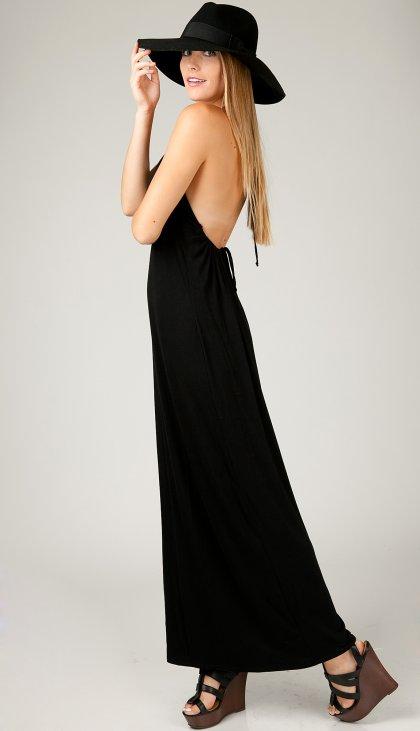 Scrunchy halter low back maxi dress
