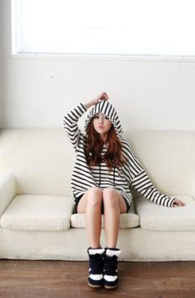 hood stripes korean ulzzang ageyo cardigan