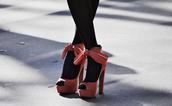 heels,bow,high,peep toe,shoes