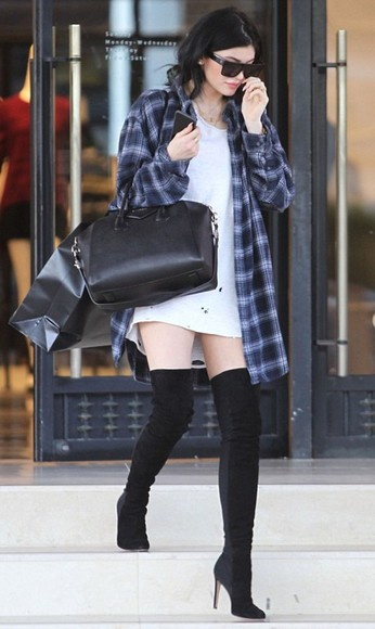 shoes boots kylie jenner overknee boots over knee high boots