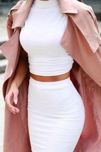 dress white set pink pink jacket haute couture two-piece white two piece two piece dress set pink coat pale pink jacket