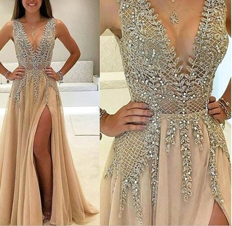 dress nude pink prom silver pink dress silver jewelry