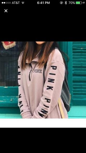 jacket light pink half zip quarter zip vspink pink by victorias secret pullover oversized