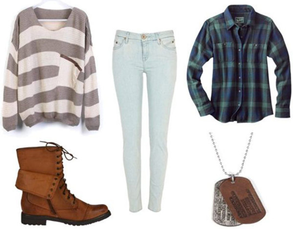 sweater comfy boots brown combat boots jeans skinny jeans jewels shoes