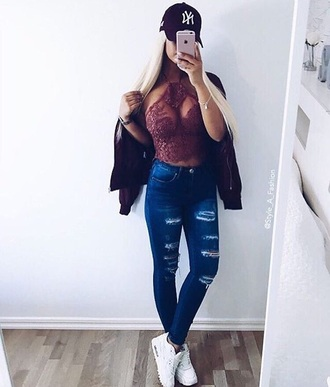 t-shirt lace top halter top cap jeans jacket
