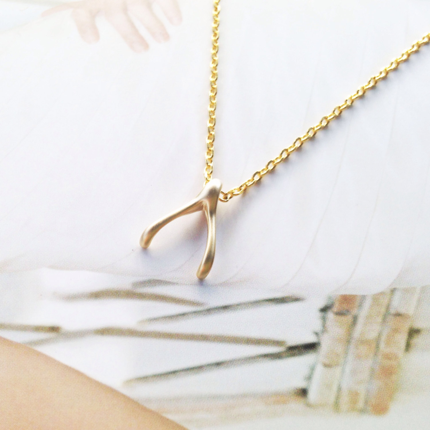 Gold wishbone necklace , whimsical necklace , gold wishbone