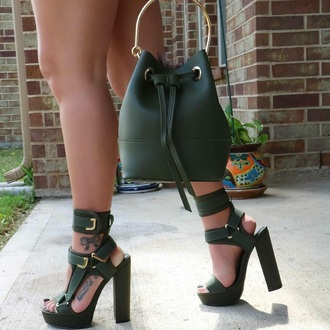 shoes green green shoes heels sexy strappy heels gold wonen