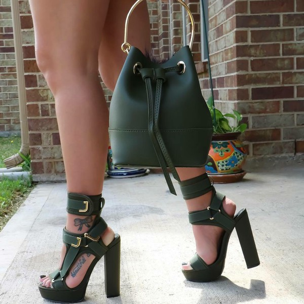 7a6b2e2484a Band Mate Cut-Out Caged Platforms NUDE OLIVE WINE RED BLACK ORANGE ...