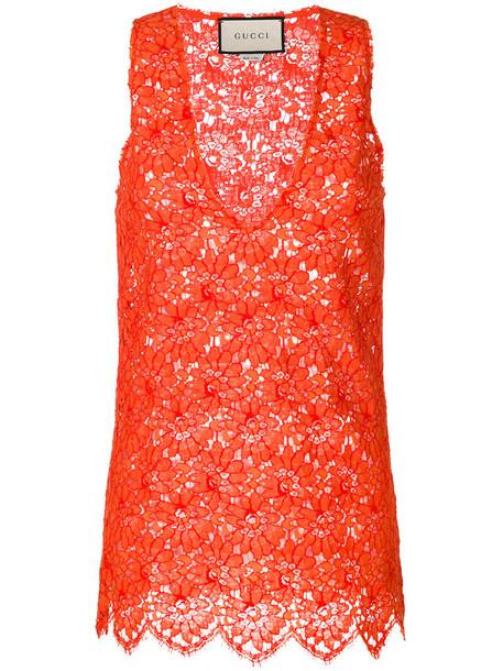 gucci top lace top women lace cotton yellow orange