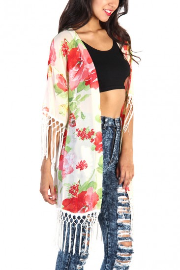LoveMelrose.com From Harry & Molly | Floral Fringe Kimono - Ivory
