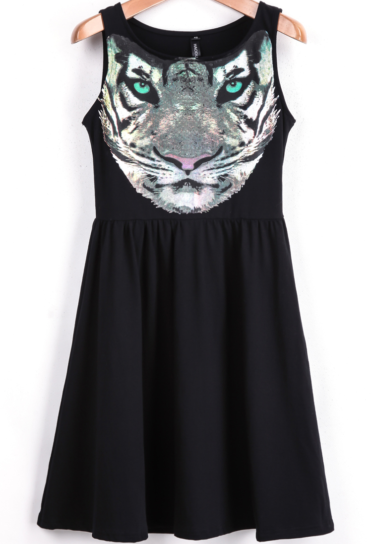 Black Sleeveless Tiger Print Ruffle Dress - Sheinside.com