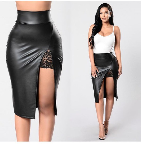 Skirt: black skirt, pencil skirt, black leather skirt, slit skirt ...