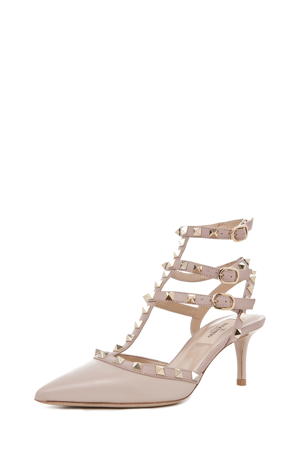Valentino|Rockstud Leather Slingbacks T.65 in Powder