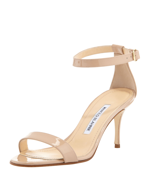 Manolo Blahnik Chaos Patent Ankle-Strap Sandal, Beige