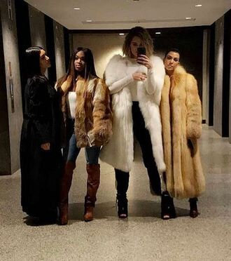 pants sweatpants fur fur coat instagram khloe kardashian kourtney kardashian kardashians