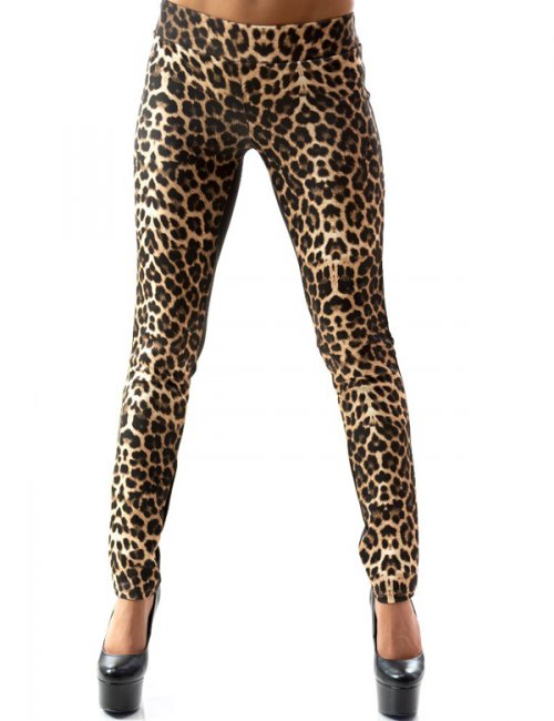 Women's Fashionable Tricot Leopard Printed Skinny Leggings
