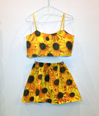 skirt fashion clothes girly crop tops flowers floral vintage grunge hipster hippie festival dress sunflower two-piece set pretty summer tank top yellow top