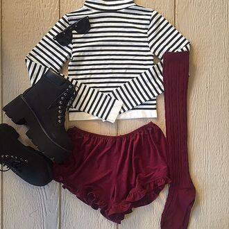 top crop tops burgundy skirt fall outfits striped top