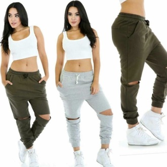pants olive green joggers urban