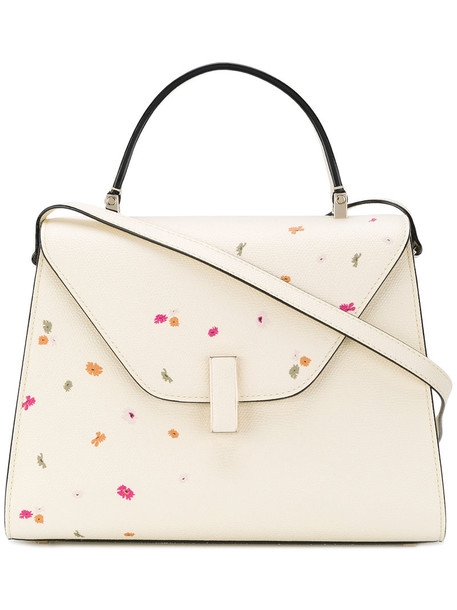 Valextra women floral leather white bag