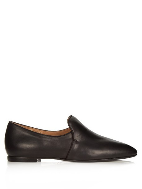 THE ROW Alys leather loafers in black
