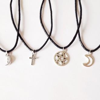 jewels pentagram pentagram necklace choker necklace cross cross choker cross necklace moon moon necklace hair accessory
