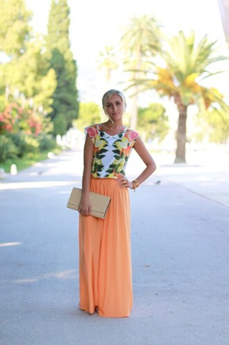 orange orange skirt maxi skirt fruits frutal t-shirt frutal print shirt skirt