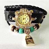 jewels,wrap watch,leather watch,charm watch,charm bracelet,gold watch,beaded,vintage style watch,freeforme