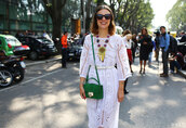 dress,eyelet dress,white dress,long sleeve dress,midi dress,bag,green bag,crossbody bag,necklace,sunglasses,summer outfits,summer dress,streetstyle,eyelet detail