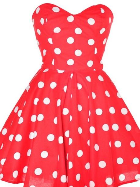 Dress: polka dots, red, red dress, clothes, polka dots ...
