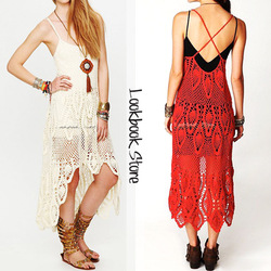 Online Shop Details about Women Vintage Boho V Neck Plunging Back Criss Cross Strap Crochet Maxi Dress|Aliexpress Mobile
