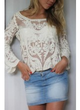 Slouchy Floral Crochet Top