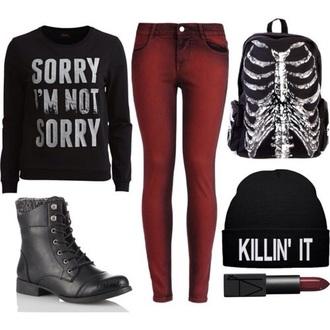 sweater black bag jeans shoes