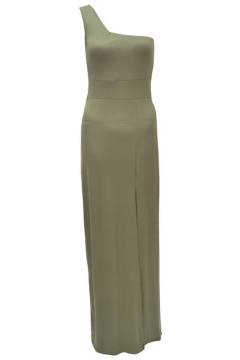 Womens Lydia One shouldered Maxi dress In Khaki | Pop Couture