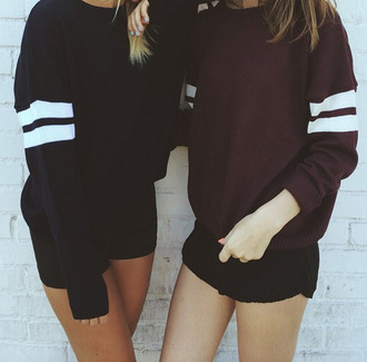 sweater black sweater burgundy sweater striped sweater bff oversized sweater fall outfits fall sweater burgundy cute cute sweater winter sweater summer long sleeves shirt black maroon sweatshirt stripes tumblr tumblr sweater aesthetic aesthetic tumblr tumblr outfit varsity sweater dark colors black and white sweet