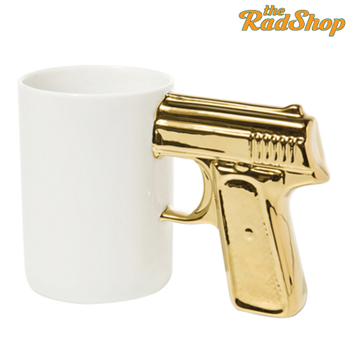 Steadfast brand :: rad shop! :: gun mug white and gold
