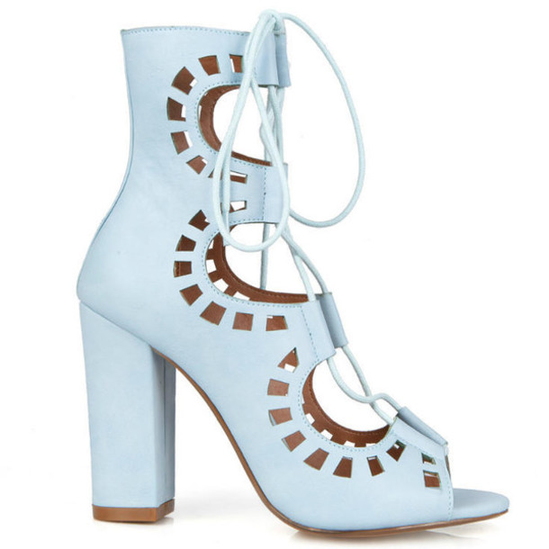 shoes heels chunky heels laser cut pastel ankle boots high heels sandal  heels light blue perforated
