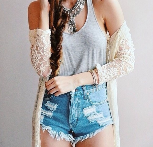 shorts High waisted shorts blouse hat jacket jewels cardigan