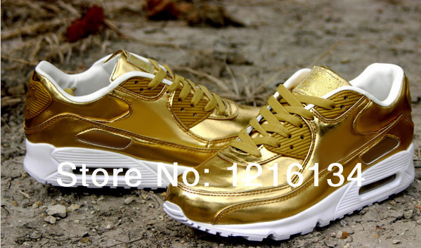 Free shipping 2014 new men 90sp liquid gold running shoes men 90sp liquid silver trainer shoes men athletic shoes tennis shoes