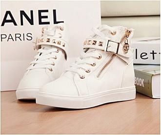 sneakers high top sneakers zipper white