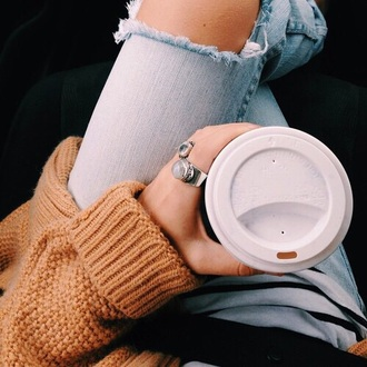 jeans nude jumper sweater jumper sweatshirt yellow ripped jeans ripped knee jeans light wash jeans coffee tumblr tumblr outfit cute cute jeans grunge hipster indie comfy knitwear knitted sweater nude
