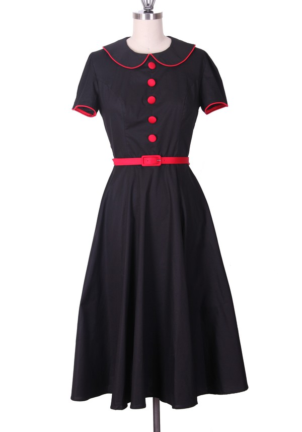 50s style day dress black dess vintage dress retro dress retro long dress rockabilly housewife 50s style swing dress