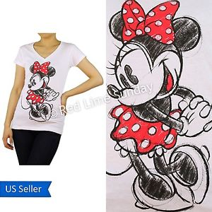Disney White Minnie Mouse Red Dots Ribbon Print Cotton T Shirt Top Junior New