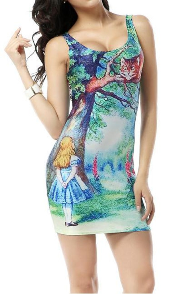 dress blue hipster posh'd boutique tank top alice in wonderland disney streetstyle