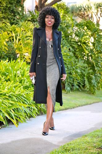 blogger coat dress bag shoes valentines day date outfit midi dress slit dress black coat pumps pointed toe pumps high heel pumps date dress