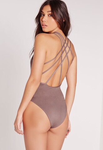 underwear taupe backless criss cross bodysuit