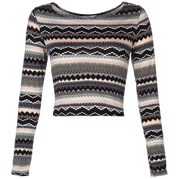 Pink Aztec Stripe Long Sleeve Crop Top - Polyvore
